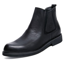 Shoespie Black Round Toe Leather Slip-On Men's Boots