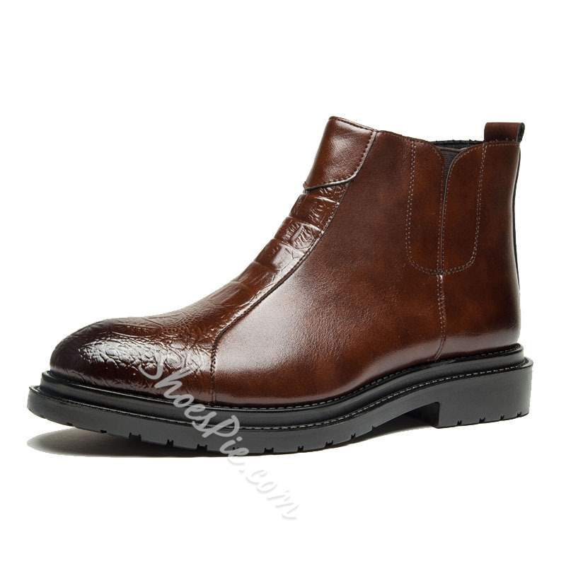 Shoespie Round Toe Brush Off Men's Ankle Boots