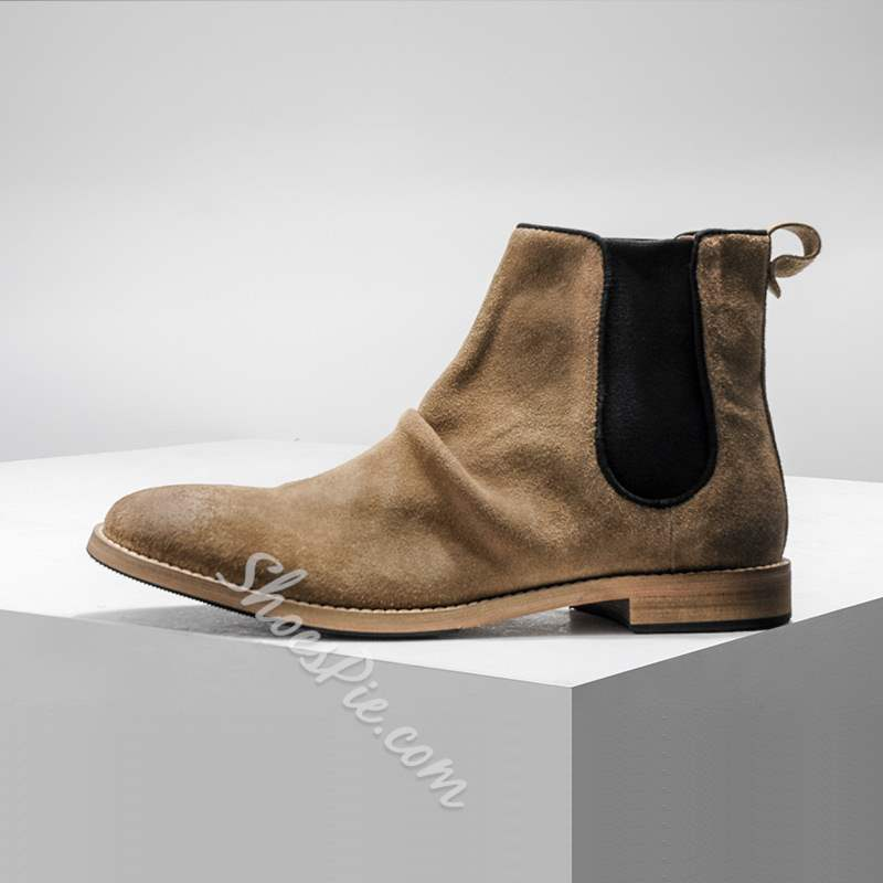 Shoespie Plain Round Toe Elastic Men's Ankle Boots