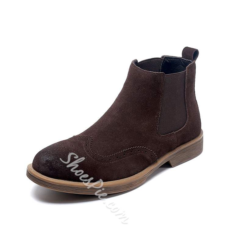 Shoespie Round Toe Slip-On Chelsea Men's Ankle Boots