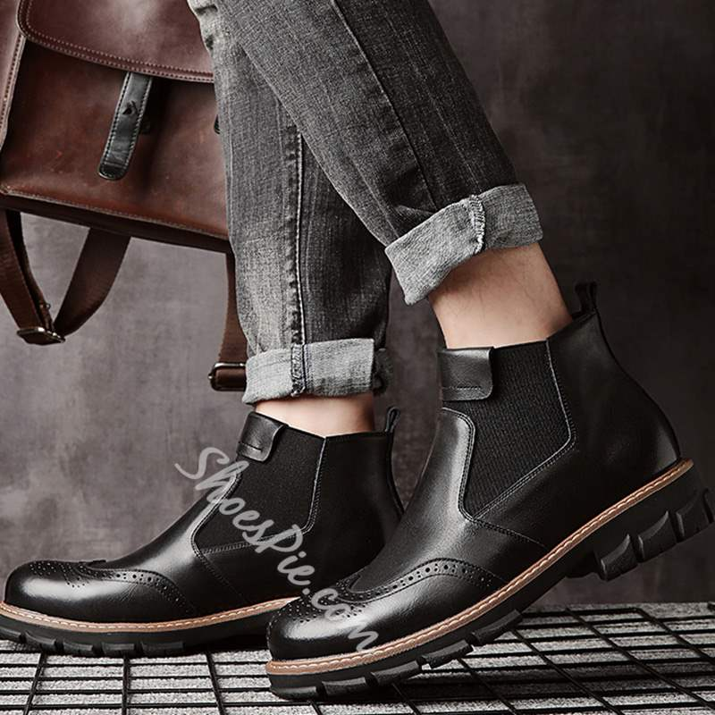 Shoespie Fashion Plain Round Toe Men's Ankle Boots