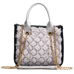 Shoespie Plaid Velour Chain Square Crossbody Bags