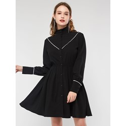 Long Sleeve Turtleneck Patchwork Plain Women's Bodycon Dress