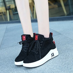 ShoespiePlatform Lace-Up Hidden Elevator Heel Sneakers