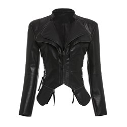 PU Zipper Short Women's PU Jacket