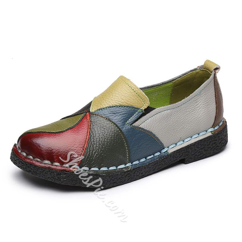 Shoespie Vintage Round Toe Slip-On Leather Loafers