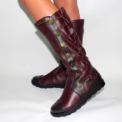 Shoespie Stylish Round Toe Lace-Up Knee High Boots