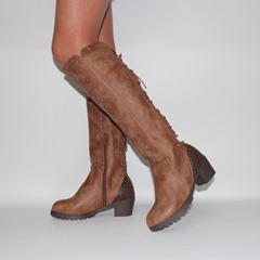 Shoespie Stylish Chunky Heel Lace Up Knee High Boots