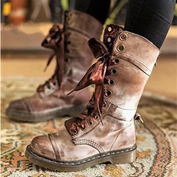 Shoespie Stylish Plain Lace-Up Front Ankle Boots