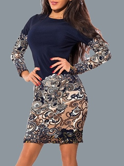 Pullover Patchwork Round Neck Fall Women's Bodycon Dress