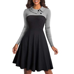 Knee-Length Patchwork Long Sleeve Winter Women's Skater Dress
