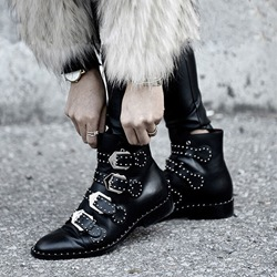 Shoespie Stylish Round Toe Hasp Plain Rivet Ankle Boots