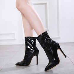 Shoespie Trendy Black Slip-On Pointed Toe Ankle Boots