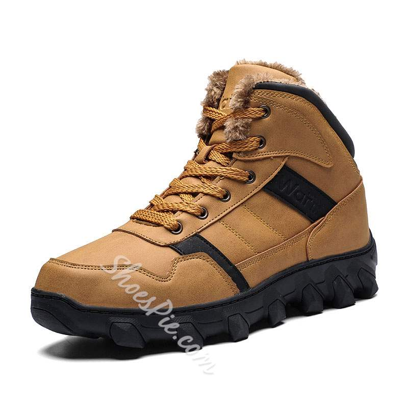 Shoespie Warm Outdoor Round Toe Lace-Up Men's Boots