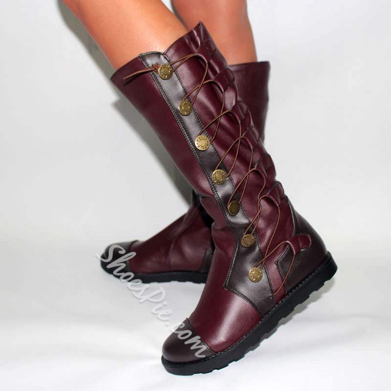 189bd8eaf881 Shoespie Stylish Round Toe Lace-Up Knee High Boots- Shoespie.com