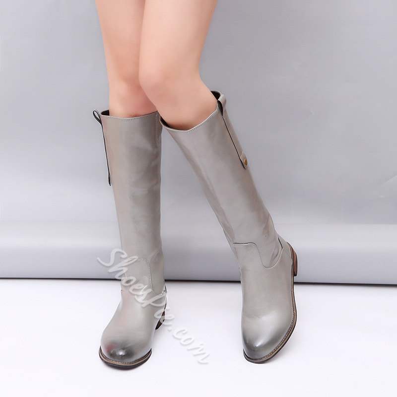ShoespieTrendy Round Toe Slip-On Knee High Boots