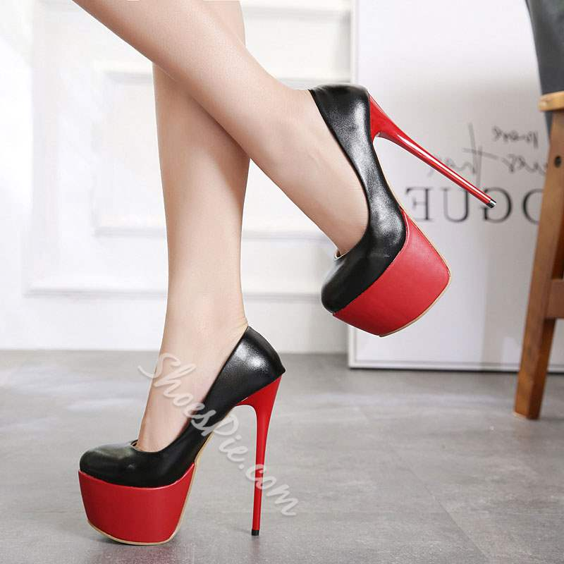 Shoespie Stylish Slip-On Platform Round Toe Stiletto Heels