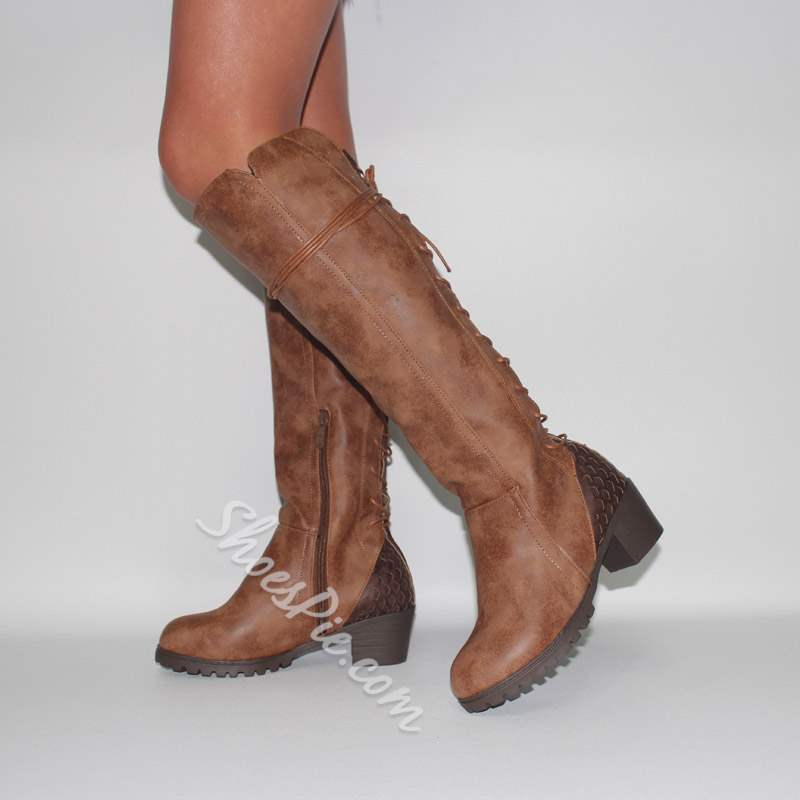 97fc6330f1d Shoespie Stylish Chunky Heel Lace Up Knee High Boots- Shoespie.com