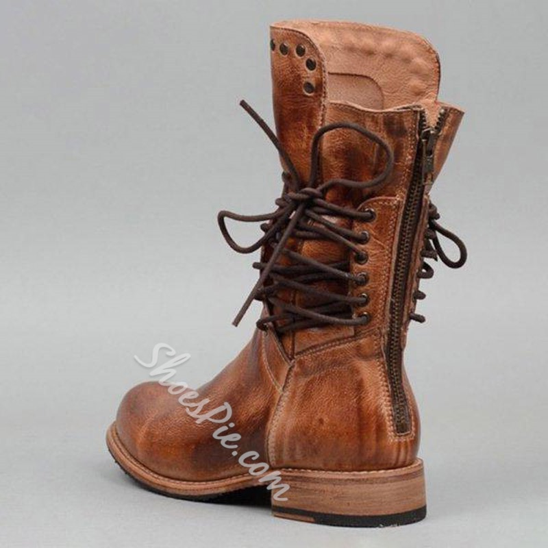Shoespie Retro Lace Up Round Toe Back Zip Ankle Boots