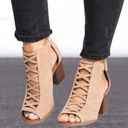 Shoespie Sexy Peep Toe Zipper High-Cut Ankle Boots