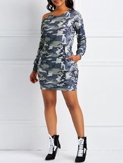 Above Knee Camouflage Pullover Women's Bodycon Dress