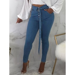 Plain Pencil Pants Slim Belt Women's Jeans
