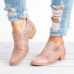 Shoespie Casual Round Toe Chunky Heel Ankle Loafers