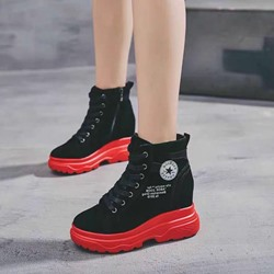 Shoespie Sexy Round Toe Hidden Elevator Heel Casual Sneakers