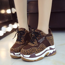 Shoespie Stylish Platform Lace-Up Suede Casual Sneakers