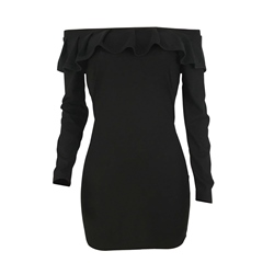 Slash Neck Falbala Polyester Plain Women's Bodycon Dress