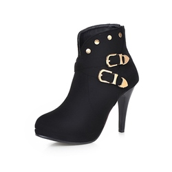 Shoespie Stylish Side Zipper Buckle Stiletto Heel Ankle Boots