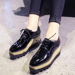 Shoespie Trendy Black Lace-Up Wedge Heel Loafers