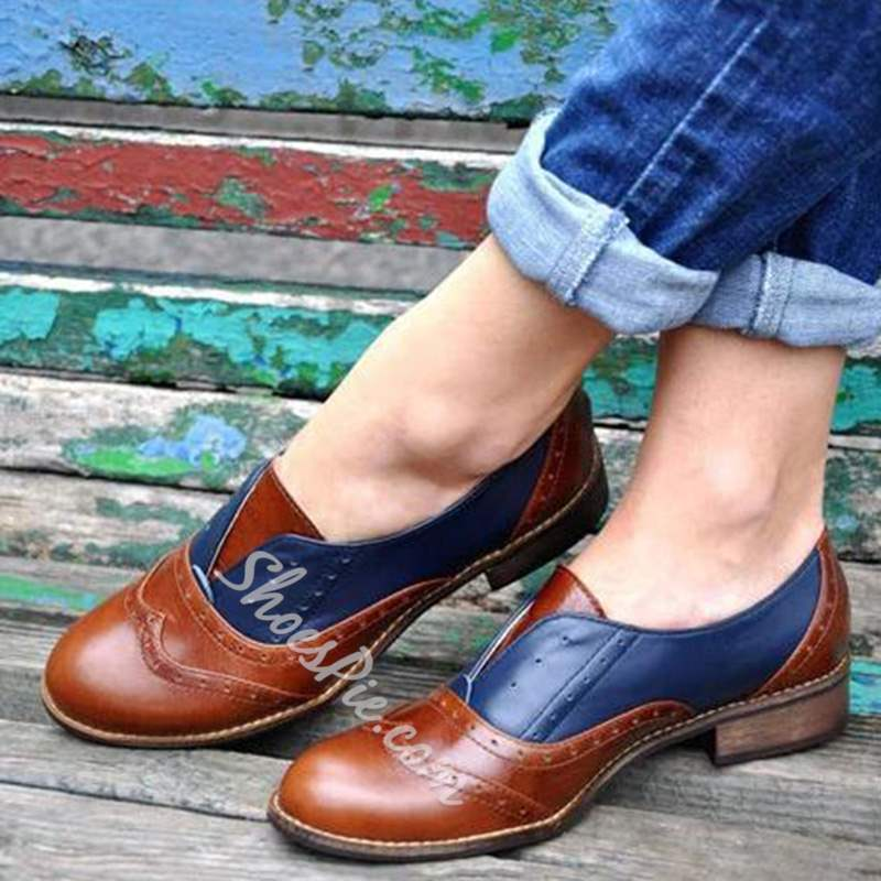 Shoespie Block Heel Slip-On Color Block Loafers