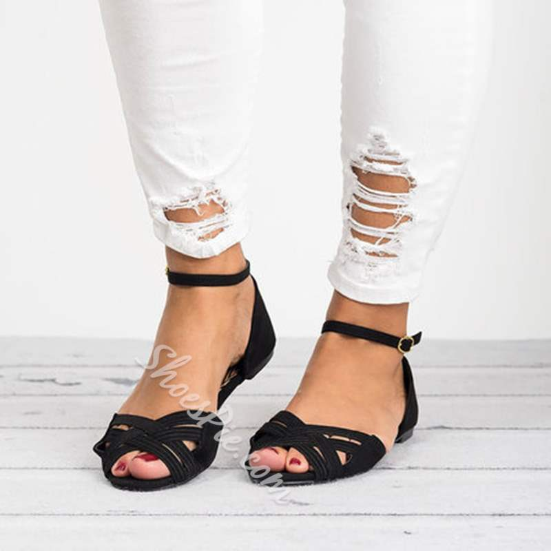 Shoespie Sexy Peep Toe Line-Style Buckle Flat Sandals
