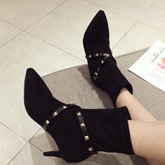 Shoespie Suede Pointed Toe Stiletto Heel Rivet Ankle Boots