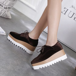 Shoespie Sexy Platform Lace-Up Square Toe Loafers