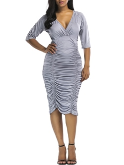 Pleated Pullover Half Sleeve Women's Bodycon Dress