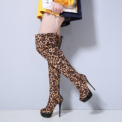 Shoespie Stylish Stiletto Heel Round Toe Leopard Casual Boots