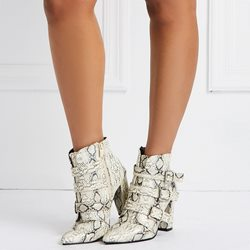 Shoespie Serpentine Buckle High Heel Boots
