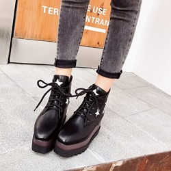 Shoespie Sexy Platform Star Square Toe Ankle Boots