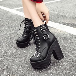 Shoespie Trendy Plain Side Zipper Chunky Heel Short Floss Boots