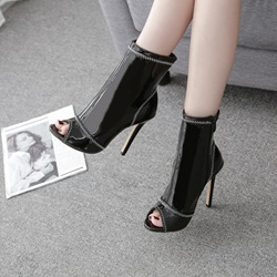shoespie Stylish Stiletto Heel Side Zipper Peep Toe Casual Boots
