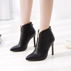 Shoespie Black Stylish Stiletto Heel Pointed Toe Ankle Boots