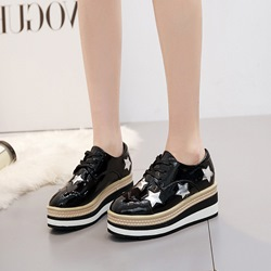 Shoespie Sexy Platform Lace-Up Round Toe Star Sneakers