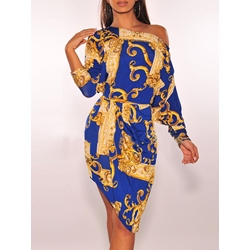 Oblique Collar Pullover Long Sleeve Women's Bodycon Dress