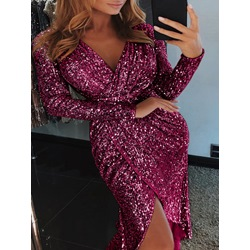 Long Sleeve Sequins V-Neck Women's Bodycon Dress