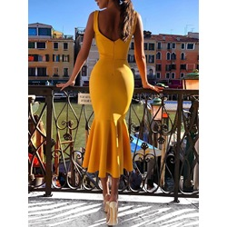 Sleeveless Backless Mermaid Women's Bodycon Dress
