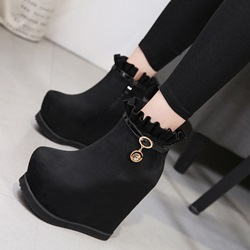 Shoespie Casual Black Suede Round Toe Ankle Boots
