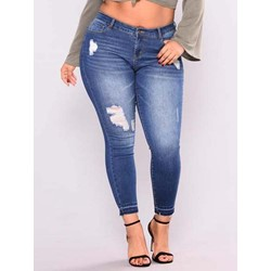 Hole Plain Pencil Pants Slim Women's Jeans