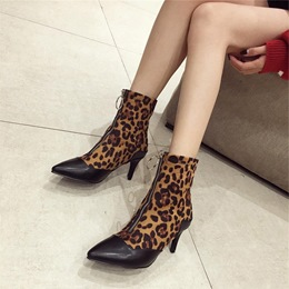 Shoespie Sexy Front ZipperLeopard Print Anklel Boots